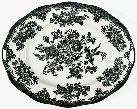 Black Toile English Transferware Platter Birds Asiatic Pheasants Flowers Butterfly Roses