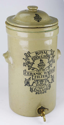 Victorian Royal Doulton Advertising Transferware Water Filter Unused RARE! Great for LAMP