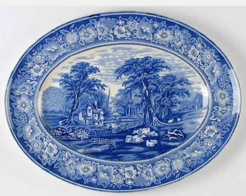 "Blue HUGE 20"" Blue Transferware Pastoral Midwinter Rural England Grazing Sheep & Cattle Cows Church"