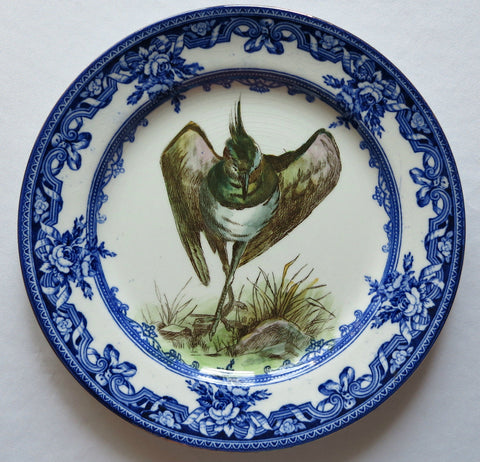 Antique Flow Blue Royal Doulton Transferware Audobon Plate Game Bird w/ Ribbons Roses Border