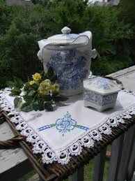 Blue and White English Transferware Hexagon Shaped Trinket Box with Pheasants and Flowers