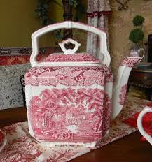 Vintage English Pink Red Transferware Masons Vista Square Handled Teapot Tea Kettle