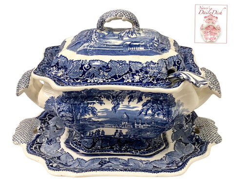 Vintage English Ironstone Blue Transferware Soup Tureen Platter & Ladle Masons Vista