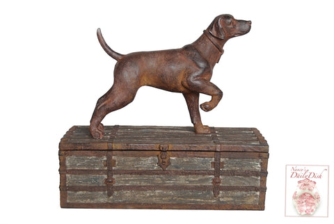 English Setter Hunting Dog Faux Bois Cigarette or Trinket Box Hunt Scene Decor