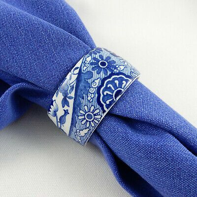 RARE!! Blue English Transferware Napkin Ring Spode Italian