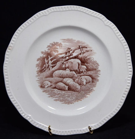 1880 Brown Transferware Plate by Copeland Spode RURAL SCENES by DUNCAN Grazing Sheep