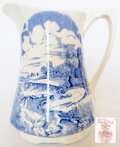 Large Vintage English Blue & White Transferware Water or Juice Pitcher Pastoral Rowboat Swans