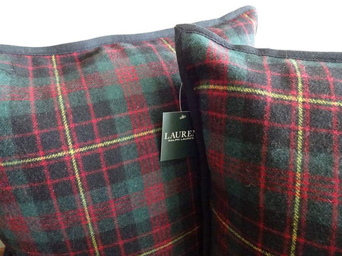 Pair Ralph Lauren Tartan Plaid WOOL Feather Down PILLOWS New w/ Tags RED GREEN Black