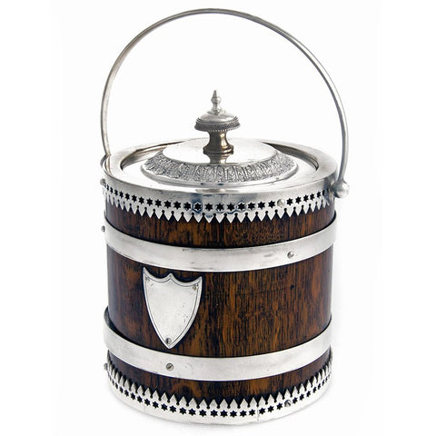 English Victorian Oak Wood and Silver Plate Biscuit Barrel or Ice Bucket circa 1890