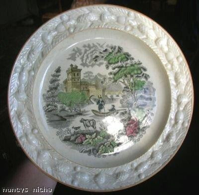 Black Transferware Plate Polychrome Cow Goat Pastoral Vintage English circa 1930