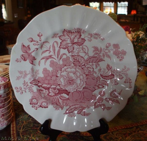 Red Transferware Plate Basket of Fruit and Flowers Butterfly Royal Doulton