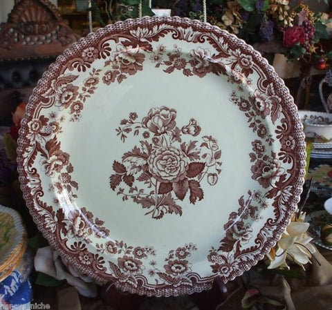 Vintage Spode Copeland  Botanical Transferware Round Chop Plate / Tray / Platter  Cabbage Roses Brown