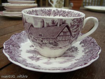 Purple Transferware Tea Cup ( no Saucer ) Romantic England Meakin