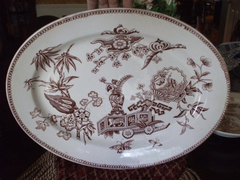 Aesthetic Brown Transferware Platter Insects FLowers circa 1878 T Elsmore