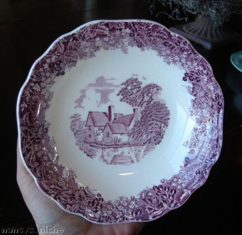 Romantic England Scenic Purple Transferware Bowl Cottage Berries Vines