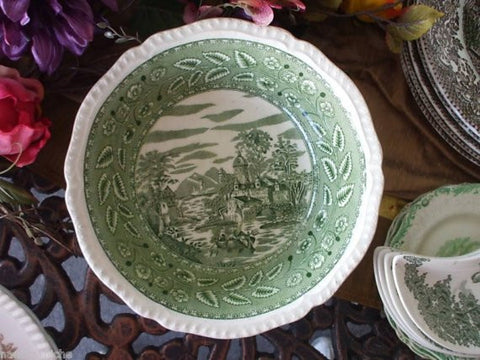 GREEN TRANSFERWARE Deep Serving / Vegetable Bowl European Scenery Boats - Lake