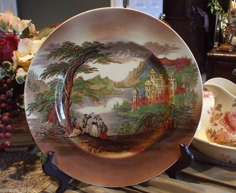 Charles Meigh Brown Transferware Platter Charger Chop Plate / Jenny Lind / Castle / Alpine Scenery Round Serving Tray Staffordshire China