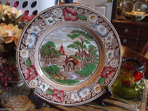Polychrome Brown Transferware Charger Mill Stream Church Midwinter England