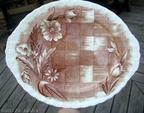 Brown English Transferware Platter Lattice Tulips Roses Trellis