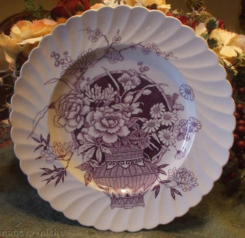 Clarice Cliff Aesthetic Purple Transferware Plate Newport Ophelia Basket of Flowers
