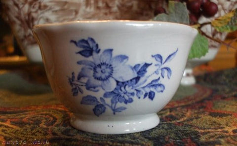 Vintage Blue Roses English Transferware Open Sugar Bowl Individual / Child Size