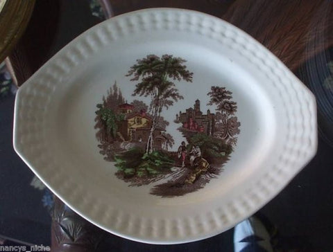Brown Polychrome Transferware Tab Handled Platter Italian Scenery