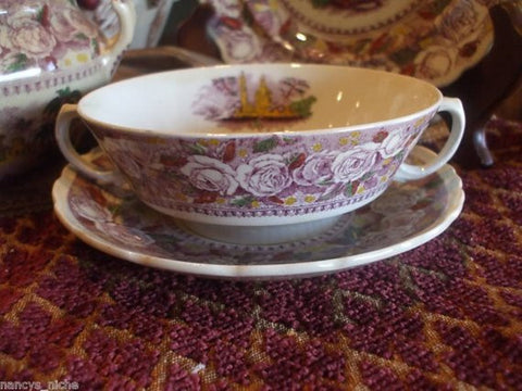 Purple Transferware Handled Soup Cup and Saucer Ridgway Staffordshire