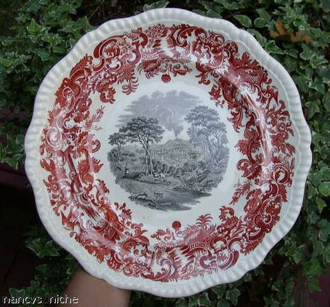 Two Color Transferware Plate Rust Red & Black Spode Copeland Beverley Mt. Vesuvius Naples Italy