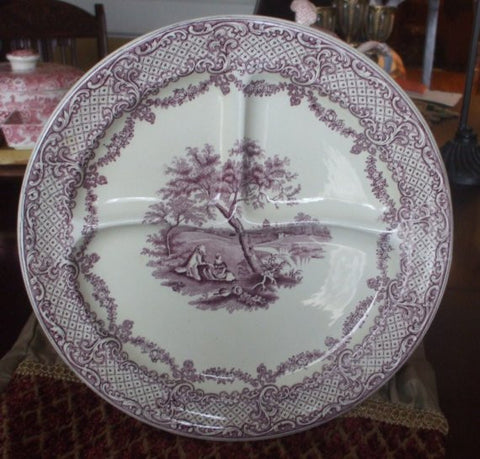 Purple Transferware Master Humphrey's Clock Ridgway Divided Grill Plate Charles Dickens RARE