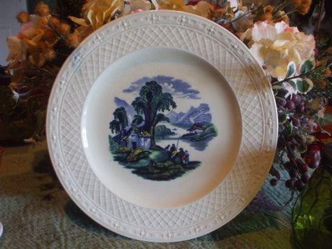 Blue PolychromeTransferware Plate Embossed Lattice Border Scenic Cottage by a Lake Vintage Royal Cauldon England