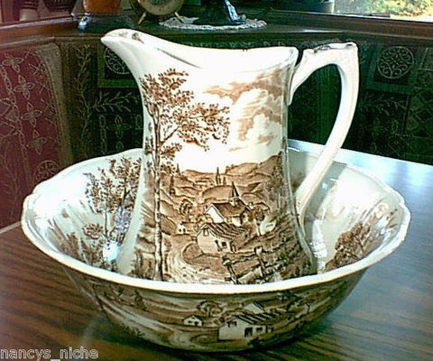 Brown English Transferware Pitcher and Bowl Pastoral View Reverie
