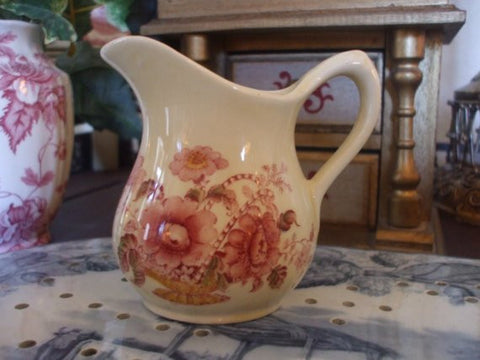Red Polychrome Transferware Individual Pitcher Creamer Basket of Flowers Charlotte