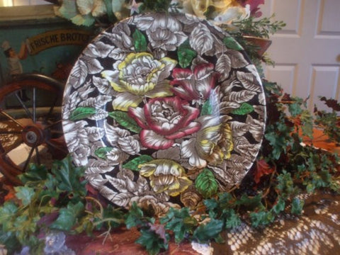 Vintage English Chocolate Brown Polychrome Transferware Roses Plate