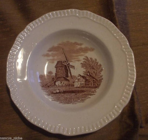 Brown Transfer Ware Candy Dish Bowl Spode Copeland Windmill Sheep circa 1879-80 Rural Scenes