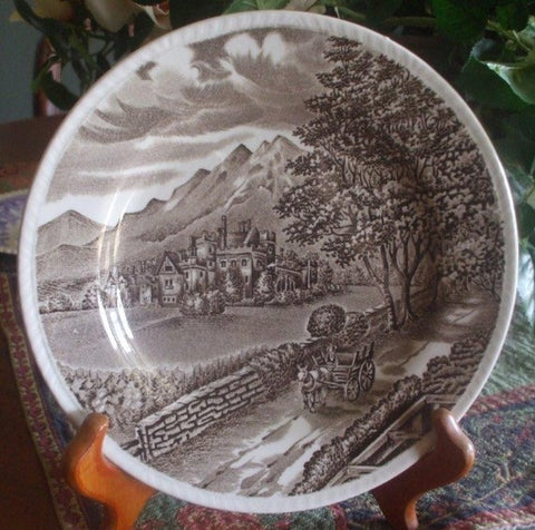 "Wood & Sons ""Westmorland"" Brown Transferware Plate Horse Cart English Manor  Mountains"