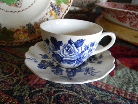 Blue Transfeware Tea Cup and Saucer Roses Fruits and Flowers England