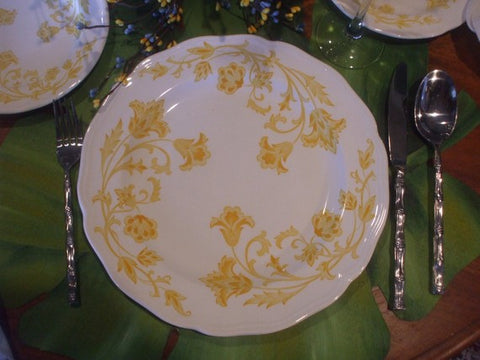 Vintage English  Salad Plate Yellow Scrolls and Vines on White Ironstone