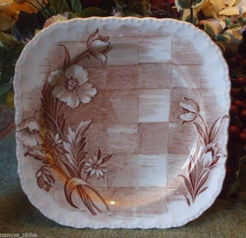 Square Brown Transferware Plate Tulips Daisies Lattice