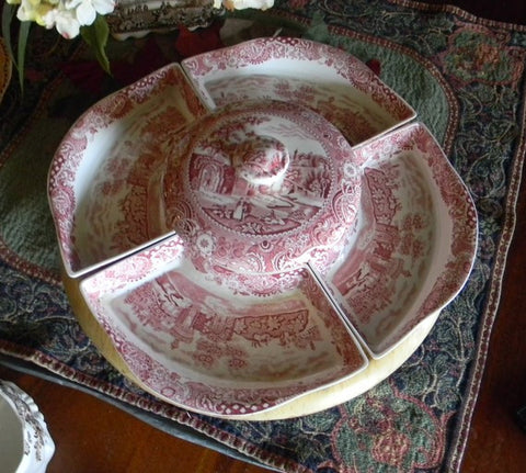 Midwinter Red English Transferware Lazy Susan 6 pc Serving set RARE