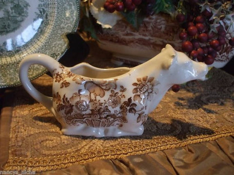Vintage  Brown Transferware Charlotte Figural Cow Creamer Pitcher