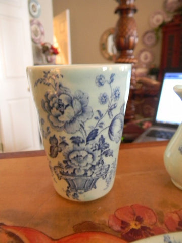 Unusual Flow Blue English  Transferware Tumbler Glass  Charlotte