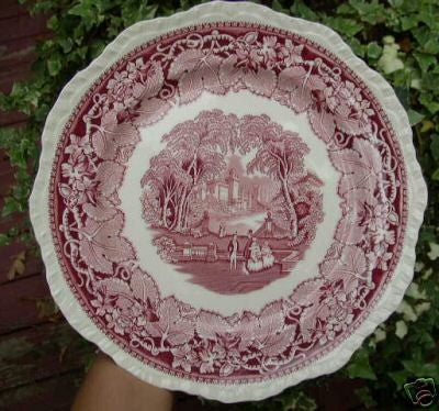 Masons Vista Red Transferware Scenic Plate Dog Park Couples