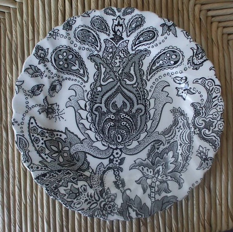 Vintage Black Transferware Paisley Toile  English Plate