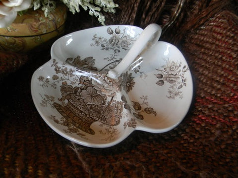 Brown Transferware Handled Three Part Serving Dish Charlotte Basket of Flowers RARE