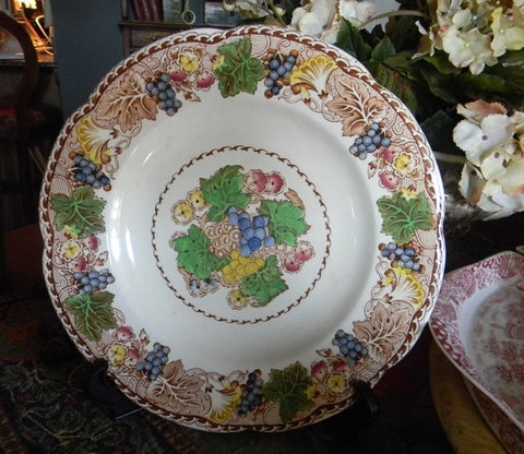 "Wood & Sons ""Hyde"" Brown Polychrome Transferware Plate or Charger Flowers and Grapes"