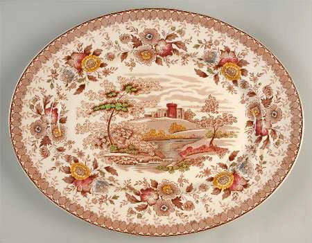 Vintage Brown Polychrome Platter Castle Woodland Stream Roses