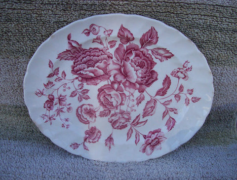 Vintage English Red Transferware Cabbage Roses Platter