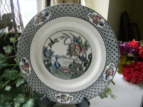 Antique Aesthetic Black Transferware English Salad Soup Bowl Dragonfly Crane Oriental Flowers