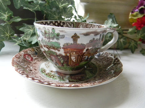 Brown Polychrome Transferware Cup  Teacup and Saucer Gazebo Strolling Couple Midwinter
