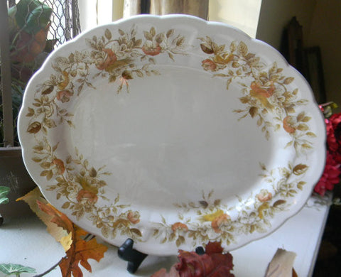 English Light Olive Green Brown Ironstone Transferware Platter with hand painted Roses